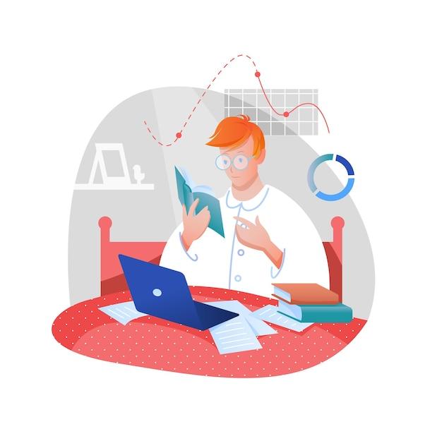 Домашняя работа, учеба. студент учится в постели в пижаме с книгой и ноутбуком, остается дома концепции
