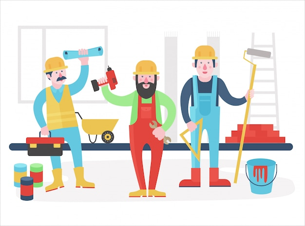 재택 근무자 문자 팀. 작업복 제복을 입은 친절한 노동자들이 함께 서 있습니다. 평면 그림.