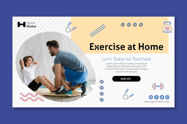 Home workout in family banner template