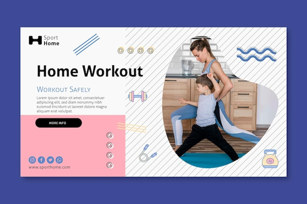 Home workout in family banner web template