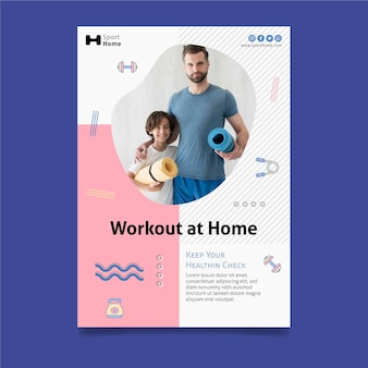 Home workout in family flyer print template