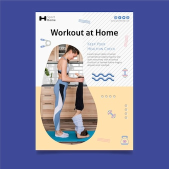 Home workout in family flyer template