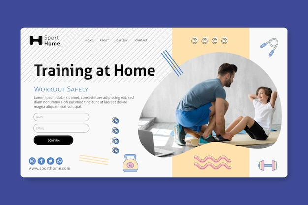 Home workout in family landing page template