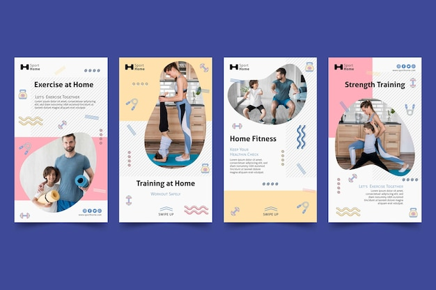 Home workout in family social media stories template