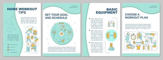 Шаблон брошюры советы по тренировкам дома. базовое оборудование. флаер, буклет, печать листовок, дизайн обложки с линейными иконками.
