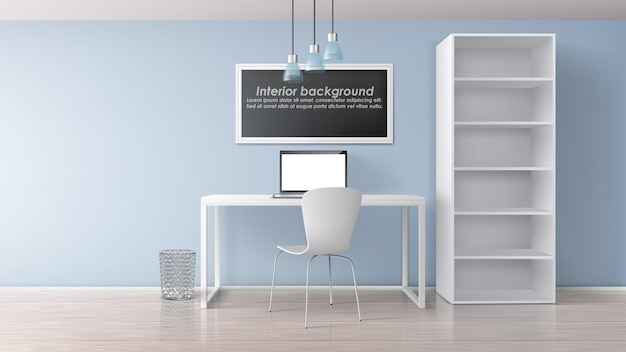 Home workplace in apartment room minimalistic interior 3d realistic vector mockup. painting frame with sample text under work desk with laptop on it, chair and rack with empty bookshelves illustration