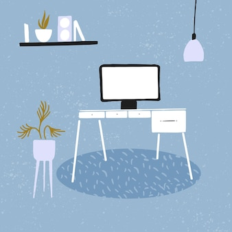 Home workplace. desk with desktop screen, potted plant, shelf with books and hanging lamp. modern minimalist interior. vector concept illustration.