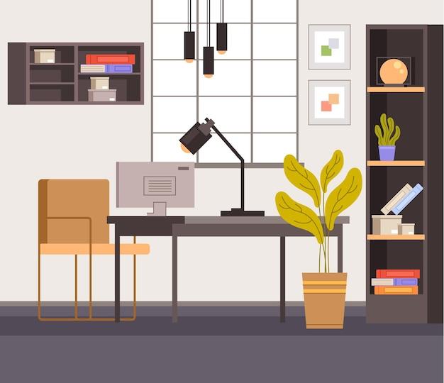 Концепция интерьера домашнего рабочего места.