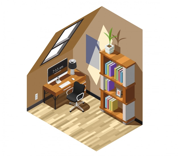 Home workplace isometric scene