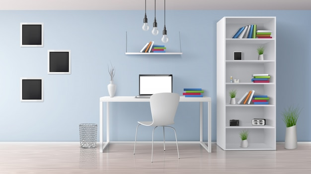 집 직장, 파스텔 색상의 현대적인 사무실 공간 햇살, 최소한의 스타일 인테리어 화이트 가구, 책상, 랙 및 책장에 노트북 벡터 현실적인