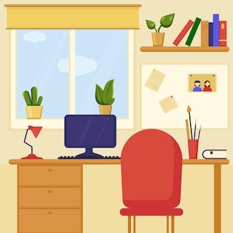 Домашнее рабочее место рядом с окном, украшенным комнатными растениями. концепция современного интерьера.