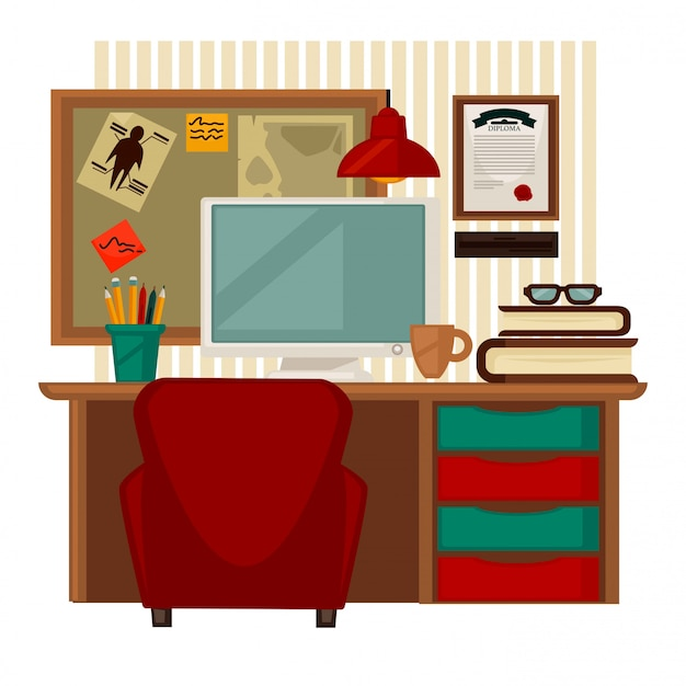 Home workplace vector colorful illustration in flat design