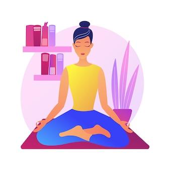 Illustrazione di concetto astratto di yoga domestico. formazione in quarantena domestica, lezione online di power yoga, sollievo dallo stress, consapevolezza, live streaming, stare a casa, distanza sociale.