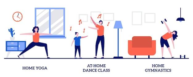홈 요가, 홈 댄스 수업, 작은 사람들과 함께하는 홈 체조 개념. 검역 벡터 일러스트레이션 세트 속에서 활동을 유지하십시오. 격리 교육, 온라인 수업, 비디오 자습서, 운동 은유.