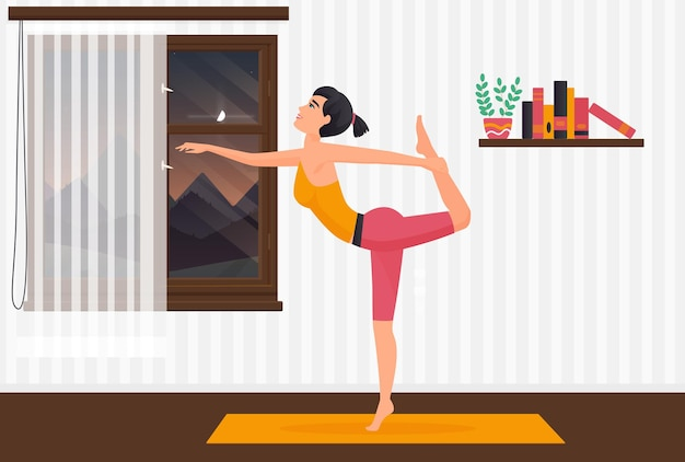 Home yoga pilates girl exercising on yoga mat woman stretching body in room interior
