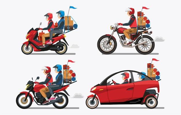 Возвращение домой людей с красными транспортными средствами