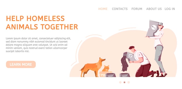 Homeless animal website layout with people and pets