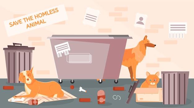 Illustrazione piana della via degli animali senza casa con la vista del punto della strada secondaria e degli animali domestici circondati dai bidoni della spazzatura