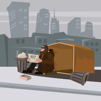 Homeless bearded in shabby clothes, background city, cardboard dwelling, holding in hands a sign of help, vector, cartoon style, banner, illustration