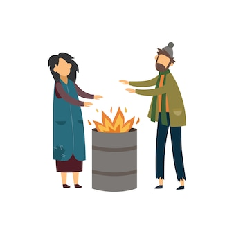 Homeless couple of beggars warming with the fire   illustration .