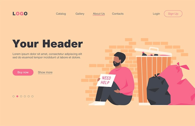 Homeless dirty man sitting on ground with nameplate need help isolated flat  landing page. cartoon desperate poor person sitting on street near trash. charity and unemployment concept