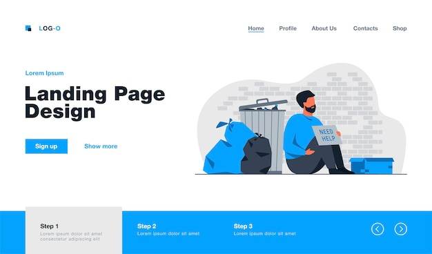 Homeless dirty man sitting on ground with nameplate need help isolated landing page in flat style