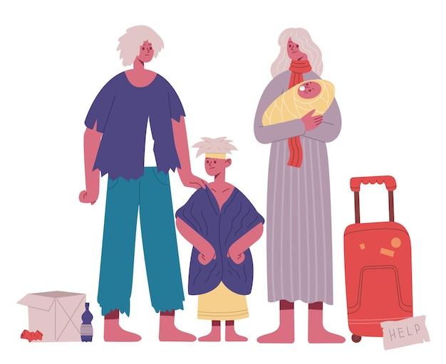 노숙자 가족입니다. 가난하고 배고프고 더러운 아버지, 어머니, 아이들, 난민 무국적 가족 만화 벡터 삽화. 위기 상황에 처한 가족. 노숙자와 가난한 가족, 도움이 필요, 빈곤 문제