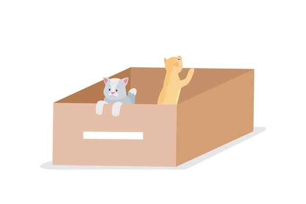 ホームレスのグレーとトラ猫のフラット カラーの詳細なキャラクター。ホームレス動物を救います。子猫用トイレ、路上にある箱。ペットケアの孤立した漫画