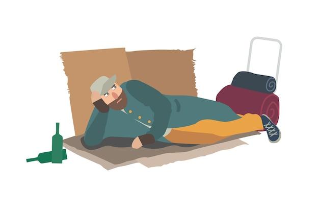 바닥에 판지 시트에 누워 누더기 옷을 입은 노숙자. 호보, 부랑자, 부랑자 또는 방랑자. 빈곤에 처한 사람. 가난한 남성 캐릭터 흰색 배경에 고립입니다. 벡터 일러스트 레이 션.