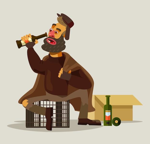 アルコールを飲むホームレスの男性。
