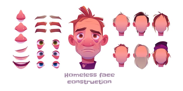 Homeless man face construction, avatar creation with different head parts on white