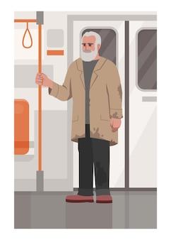 電車の中でホームレスの男性セミフラットベクトルイラスト。汚れた服を着た貧しい男性は手すりを持っています。通勤中の失業者。商業用の失業者2d漫画のキャラクター