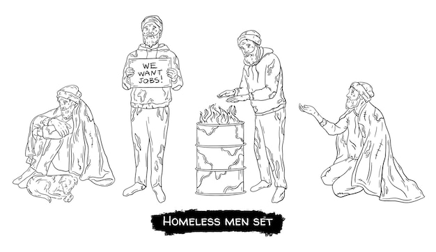 A homeless man set a poor tramp on the street