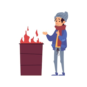 Homeless man stands warming his hands by fire burning in barrel cartoon style