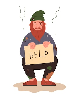 ホームレスの男性。ぼろきれの失業者の乞食。