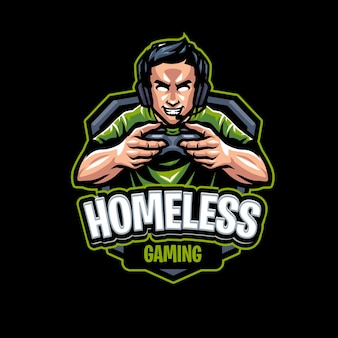 ホームレスのマスコットのロゴのテンプレート