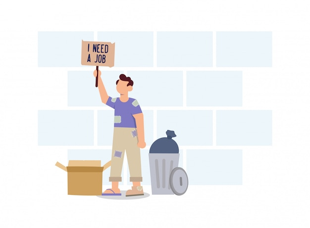 Homeless men who don't have a home need work flat design illustration