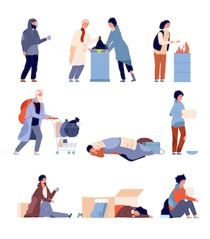 Бездомные люди. нищему, бедняку нужна помощь и милосердие. изолированные мультфильм бедности грязные и голодные беженцы векторные иллюстрации. бездомный и нищий человек бедности нуждается в помощи