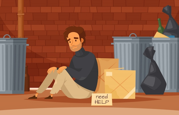 悲しい貧しいホームレスの男性とホームレスの人々の漫画の構図は、銘板が地面に座って助けが必要