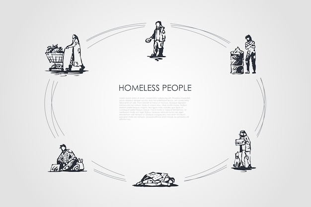 Homeless people  concept set illustration