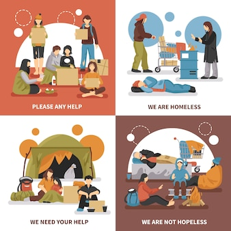 Homeless people design concept