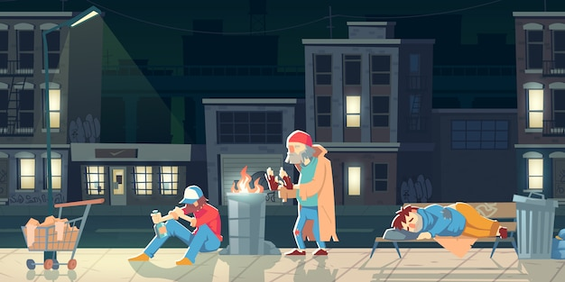 Homeless people in ghetto illustration.