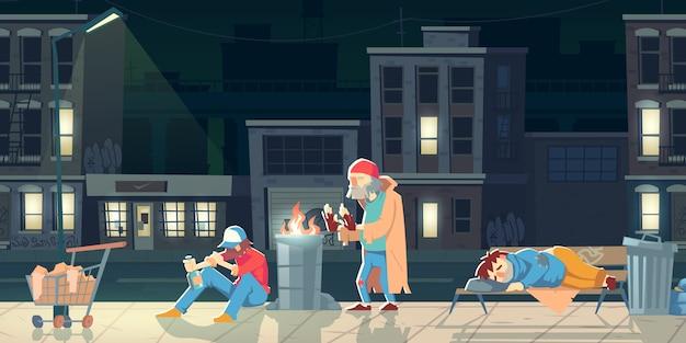 Бездомные люди в иллюстрации гетто.