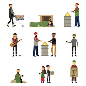ホームレスの人々、子供、バガボンドが物乞いをし、漫画イラストの助けが必要