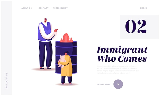 Homeless people living on street lost work landing page template.