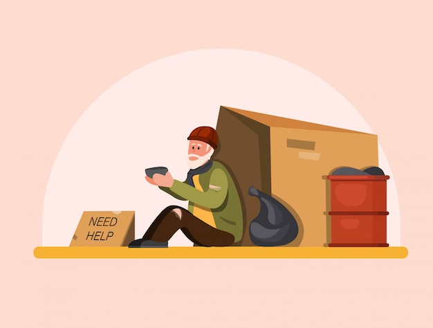 Homeless people need help, poor old man sitting in street waiting people to help. cartoon flat illustration