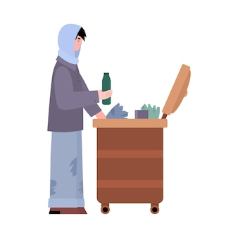 Homeless poor man looking for food leftovers flat vector illustration isolated