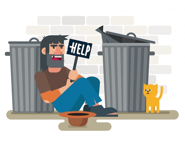 Homeless sad poor man sits on the ground near garbage containers with with help plate and cat   illustration