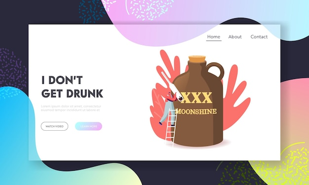 Homemade alcohol drink cooking process landing page template. tiny man character with alcohol meter stand on ladder at huge jug with moonshine