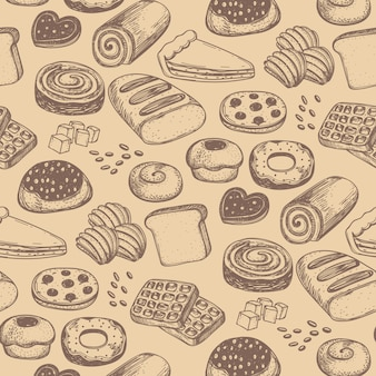 Homemade bakery product seamless pattern